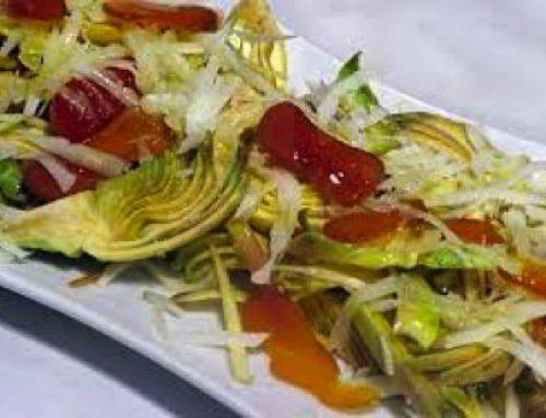 Insalata di carciofi, pecorino e pancetta
